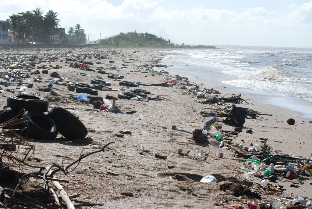 The litter problem on the coast of Guyana